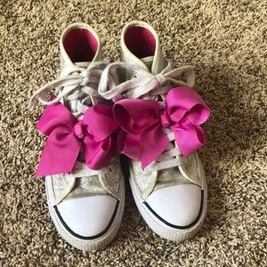 Jojo Siwa silver glitter high top shoes with bow